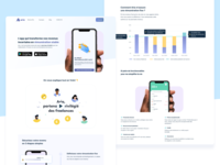 Aria - Landing page french steps app store features web page landing page design webflow homepage bar chart chart product design gradient mobile app iphone x illustration ui product page app page app design landing page