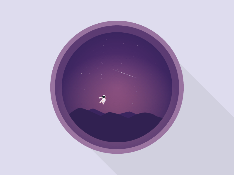 Space Traveller pink purple hills stars space astronaut illustrator illustration vector