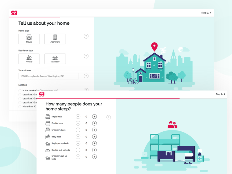 GuesttoGuest Signup -  🏡 Home Creation house home exchange web ui vector illustration holidays travel home funnel signup