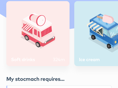 Trucks - Food truck app page in motion (PRINCIPLE FREEBIE) app soda ice cream motion design illustration iphone x landing page app page food truck animation principle freebie
