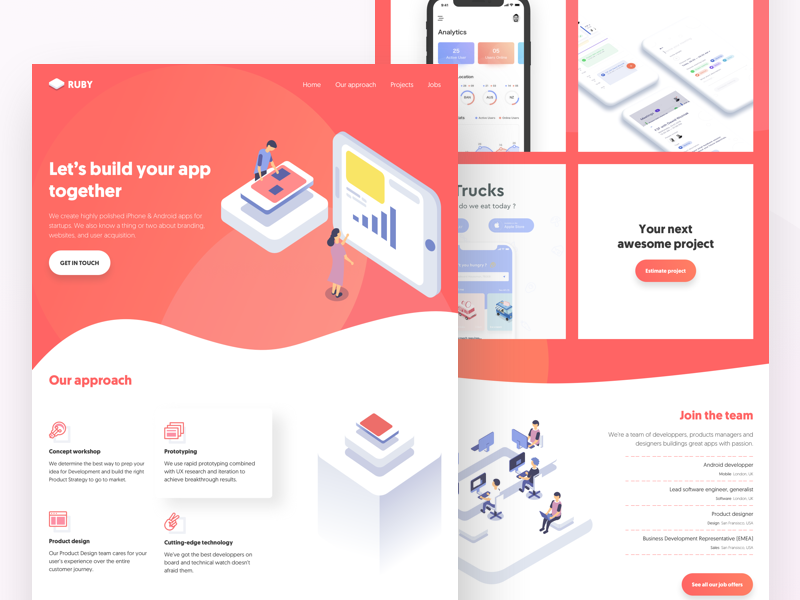 Ruby App development agency | Landing Page isometric app developpement mobile app ruby project red illustration landing page agency