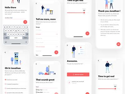 Jobs - job hunting app onboarding professional resume iphone x interaction design animation principle job app ui onboarding