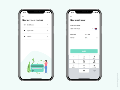 Payment method - Credit card 💳 checkout credit card checkout apple pay paypal cleanmock clean payment app app illustration credit card payment method
