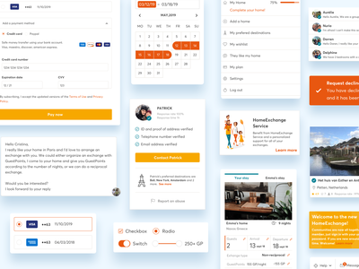 HomeExchange design system components styleguide toast calendar checkout illutration atomic design product design product component design system