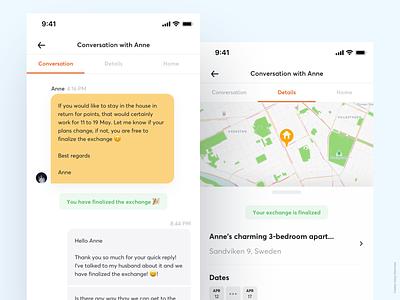 HomeExchange app messaging redesign - Conversation & Details product design messaging app travel app map listing booking messaging chat app