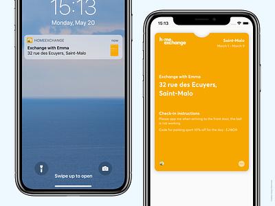 HomeExchange Wallet Pass 🎈 product design notification iphone x ios wallet boardingpass passbook wallet