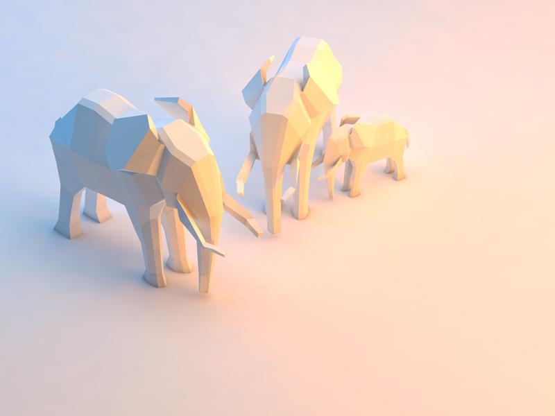 Low Poly Elephant Family low poly cinema 4d blender modeling render 3d
