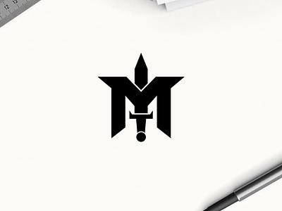 M + Sword logo concept minimal logo clothing apparel illustration identity branding logo design typography lettering symbol logotype icon monogram logos logo
