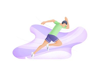 The Runner grain texture flat vector illustration character human body human sprint poses shoes runners sport runner