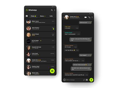 WhatsApp Black Version adobexd chat black interface redesign uidesign ui whatsapp