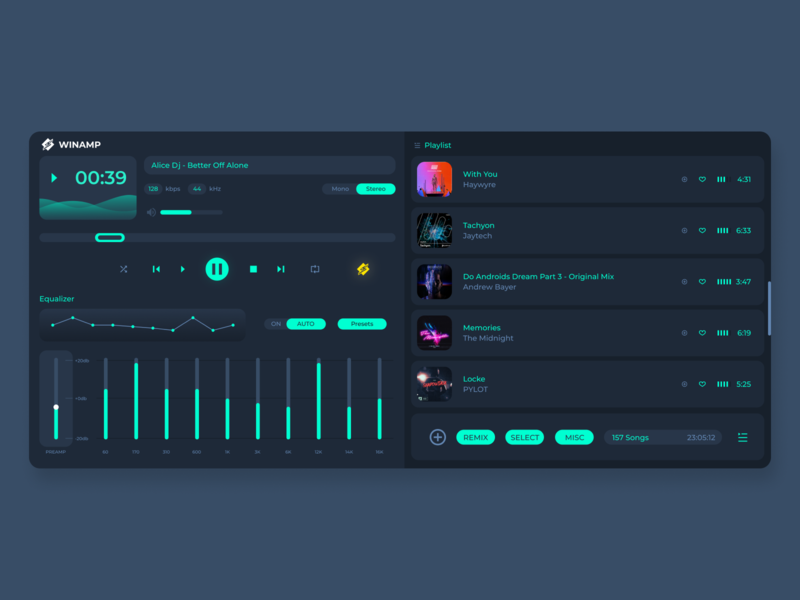 Winamp Player Redesing figma ui interface ux uiux interface uidesign ui songs music player winamp