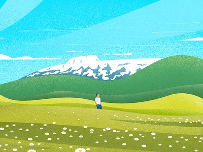 Panguipulli landscape illustration grain texture grain illustration sky green volcan landscape