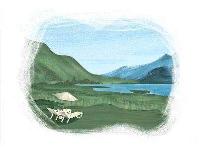 Cochamo - South Chile nature green mountains brushes grain illustration landscape illustration landscape