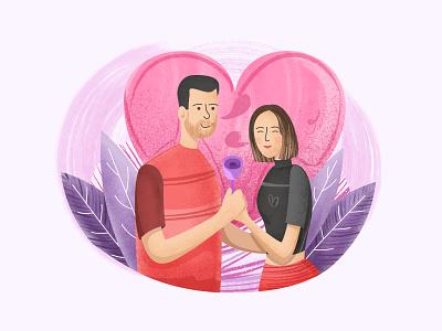 Love Day valentine day friendship heart grain illustration digital couple illustration love