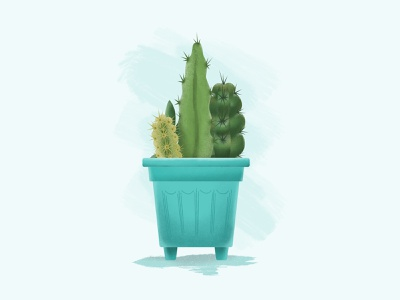 Cactus greenhouse home plants green brushes grain texture draw nature affinitydesigner cactus