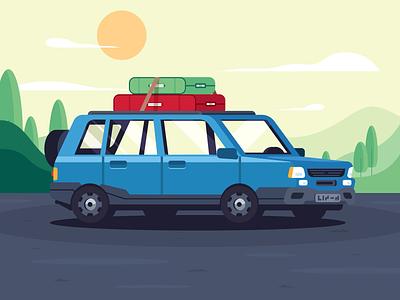 Pickup Vacations bags green nature vector camping road car pickup travel