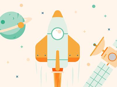 Rocket Star agency flat illustration fire moon space satellite planet stars rocket