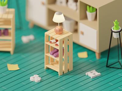 Homy! wood shoes plants furniture home illustration 3d illustration 3d blender