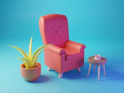 Relax Time mug coffee sofa 3d illustration 3d blender polygon runway