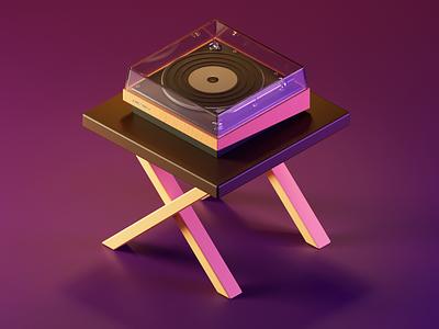 Record Player 3dillustration blender 3d vinilo player record