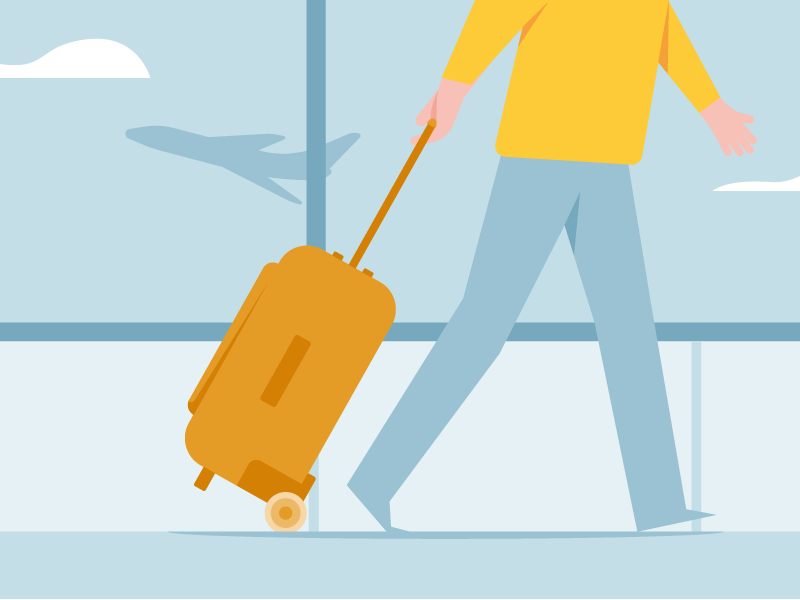 Traveler Santander vector illustration walk bluesky airport flight bag color bars flat traveler travel