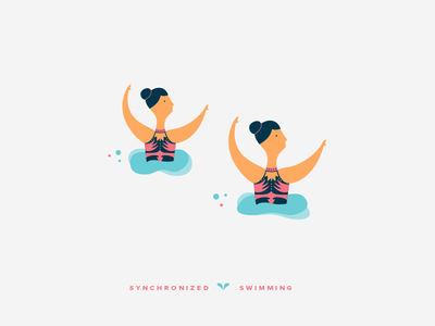 Synchronized Swimming design digital sports girls olympic games vector illustration synchronized swimming color 2d