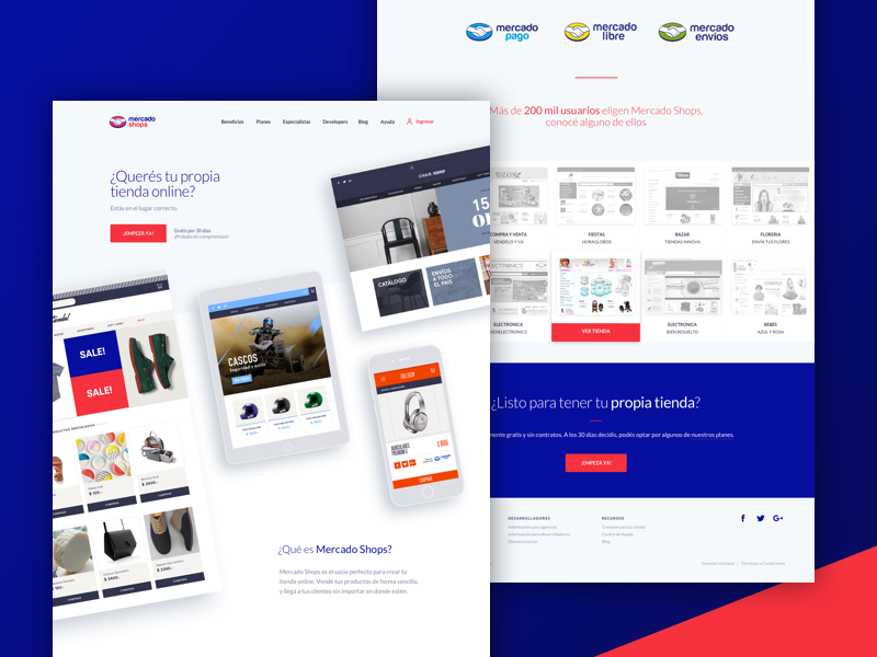 Mercado Shops - Marketing Website design strategy mercadolibre html landing website marketing ui ux ecommerce mercado shops