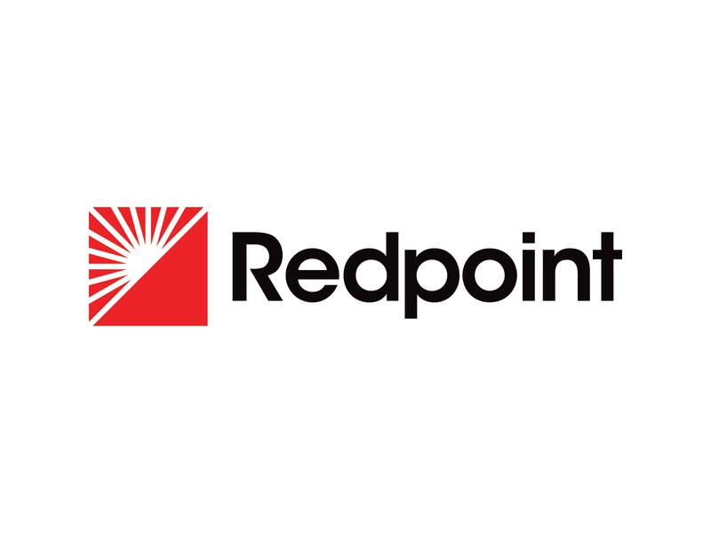 Redpoint Logo black strong construction building build hill mountains landscape triangle mountain sunrise light sun squares square geometric avant garde point redpoint red