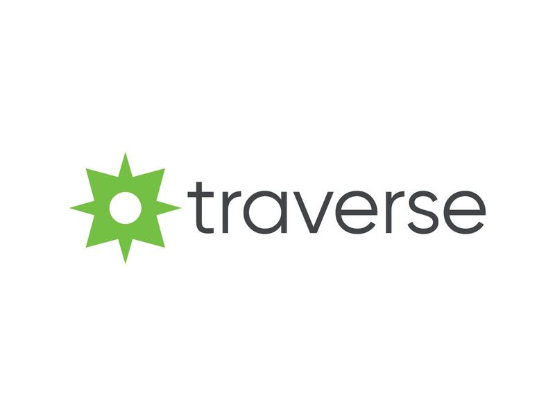 Traverse Logo guide geometric help injury comp workers insurance grey green healthcare care health guidance compass branding brand mark logos logo traverse