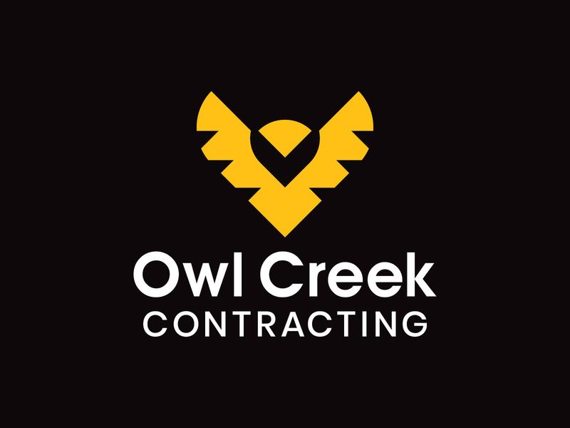 Owl Creek Contracting Logo sharp bold strong yellow geometric mark icon branding brand logos logo contractor contracting bird animal creek owls owl