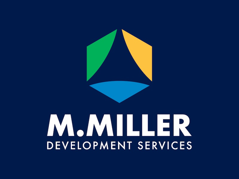 M.Miller Development Services Logo growth community futura triangle hexagon colorful logos logo shapes geometric abstract miller
