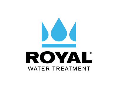 Royal Water Treatment brand logos logo blue bold industrial modern minimal drop water crown royal