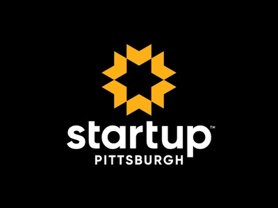 Startup Pittsburgh geometric minimalistic brand logos logo yellow black gold guidance light sun direction arrows arrow together business group networking pittsburgh startup