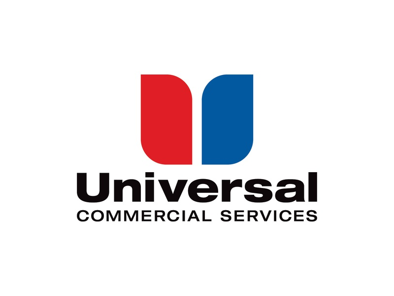Universal Commercial Services Logo repair maintenance hvac refridgeration universal strong identity icon mark logos logo blue red bold typography type lettermark letters letter u