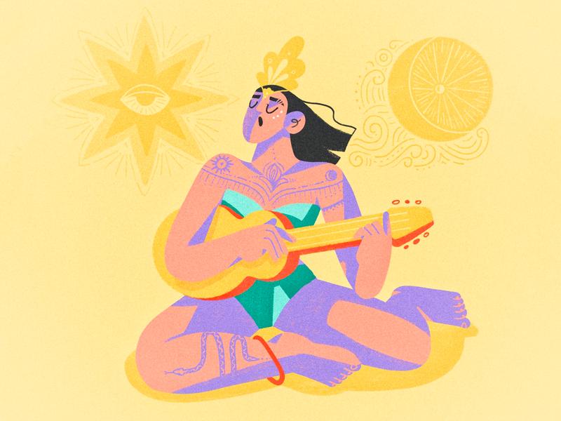🌞Sun Moon 🌝 tattoo musician music bliss beach guitar moon sun procreate girl illustration character