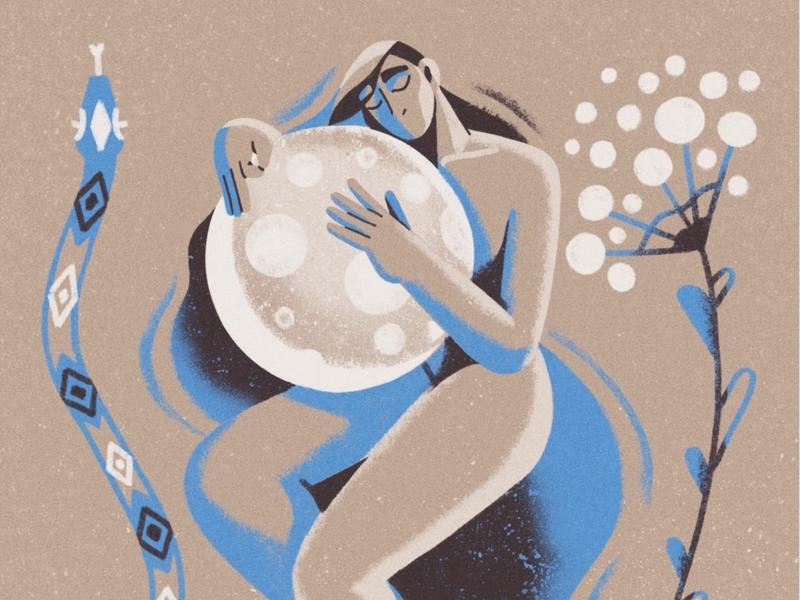 The M🌕🌑N drawing feminine woman creative music plant snake art illustration design moon