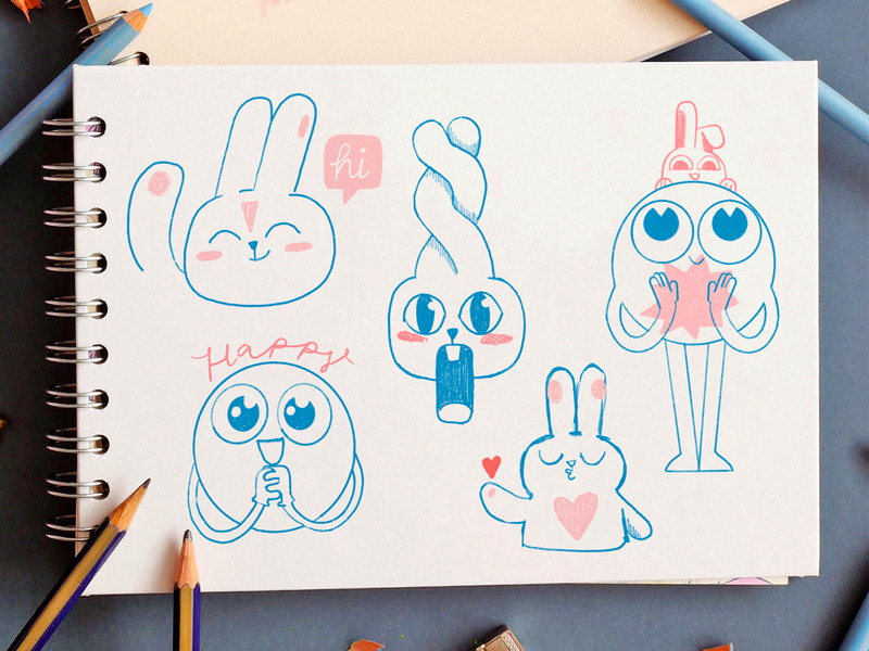 Sketchy ✏️ characters cute funny bunny sticker emoji emojis sketching concept progress stickers sketch