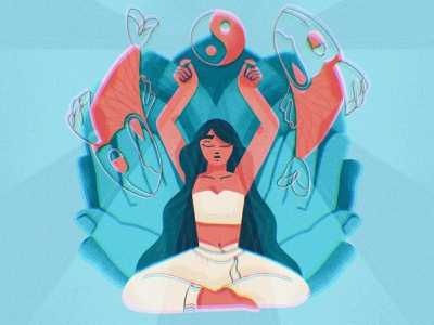 Pisces season procreate meditation spiritual yang yin fish asana girl yoga