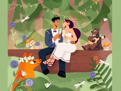 Wedding season 🌲 bride wedding plants ukulele bear fox groom character illustration season