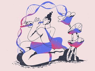 Krishna's Flute 🧬 illustration minimal procreate character prince tender love lotus hindi musician dna music flute
