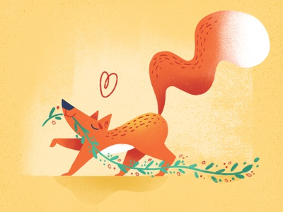 Collecting herbs children animal illustration love texture herbs character plants fox