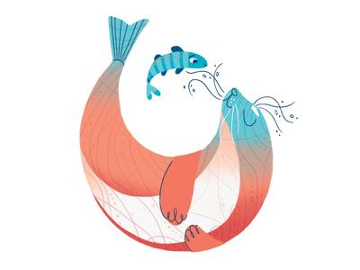 Underwater love brush texture photoshop turquoise pink character dance fish seal underwater