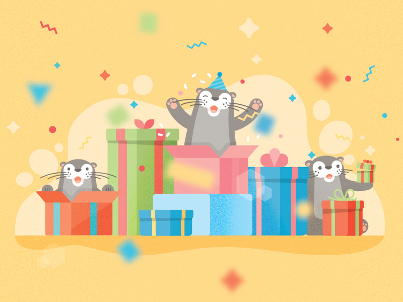 Baby Otters ✨ celebrate gift voucher header confetti sparkle party gifts otter baby