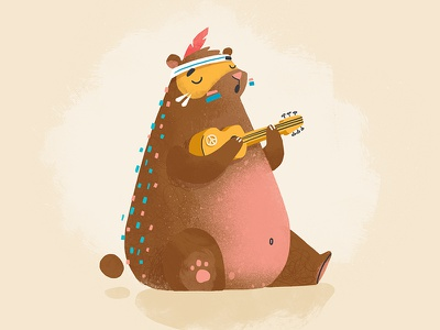 Bear with Ukulele ✌️ belly fat music love hippie peace character bear ukulele