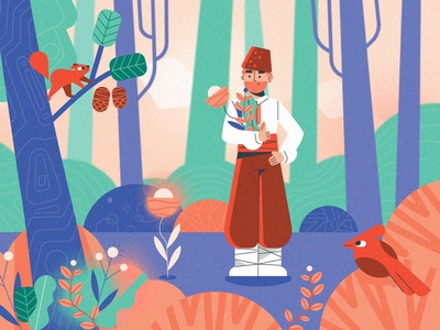 Herbalist 🌿 landscape environment character purple healing magic forest squirrel bird herbs