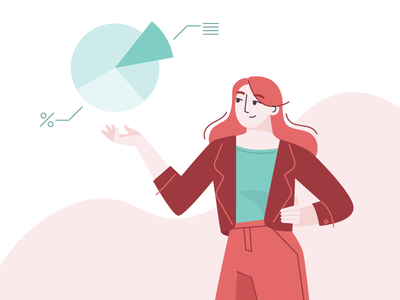 Presentation time ⌛ vector turquoise ginger business woman character chart presentator presentation