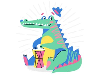 Croc Drummer 🥁 texture pencil animal character fluorescent hat drummer drum croc crocodile