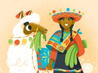 Peruana Con Llama