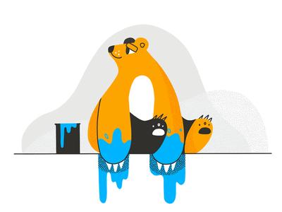 Caught Blue-Handed character fluffy procreate paint cuteness illustration painter animal bear