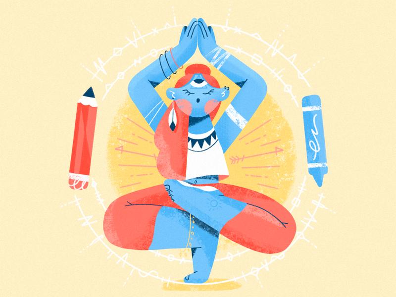 Expansion character procreate pastel pencil inspiration yoga community invites designer drawing illustrator expand